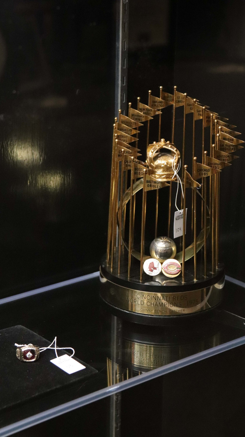 Johnny Bench's mini World Series trophy and ring from the 1975 World Series.