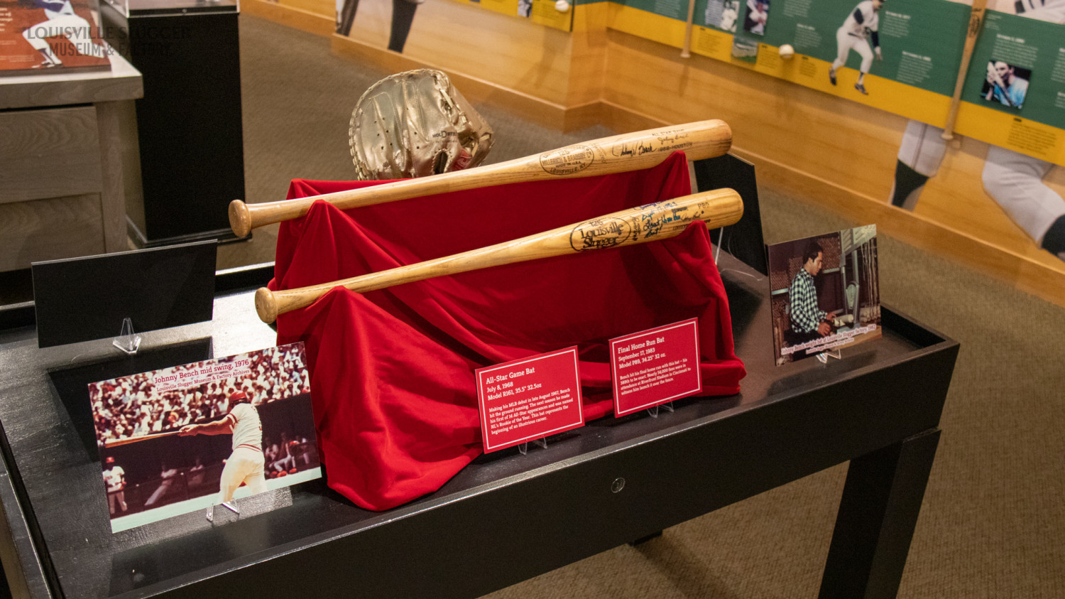 A side angle of two bats from Johnny Bench's personal collection on display at Louisville Slugger Museum & Factory.