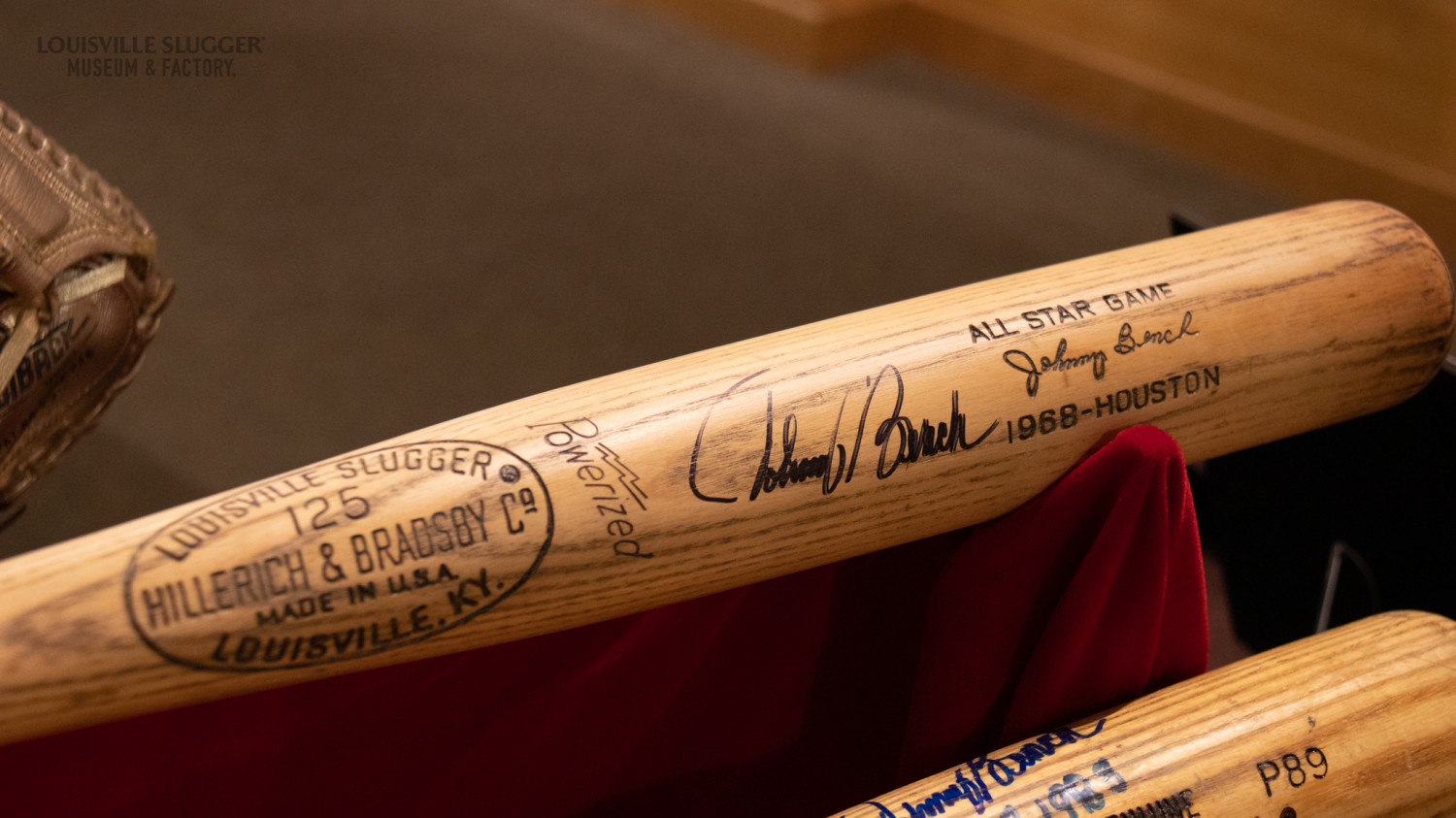 Close up of Johnny Bench's 1968 All-Star commemorative bat, signed by Bench.