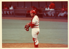 Johnny Bench behind the plate with his catcher's gear on.