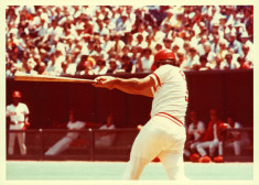 Johnny Bench mid-swing.
