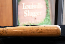 Clemente's U1 model bat that will be added to our Hold a Piece of History exhibit. The bat is 35 inches long and 39 ounces.