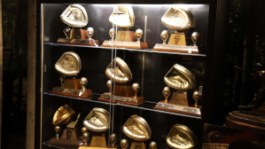 Johnny Bench's 10 Gold Glove Awards on display at Louisville Slugger Museum & Factory.