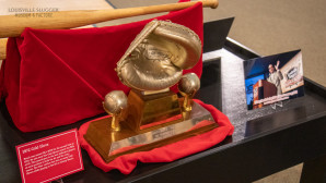 A side view of Johnny Bench's 1972 Gold Glove Award on display at Louisville Slugger Museum & Factory.